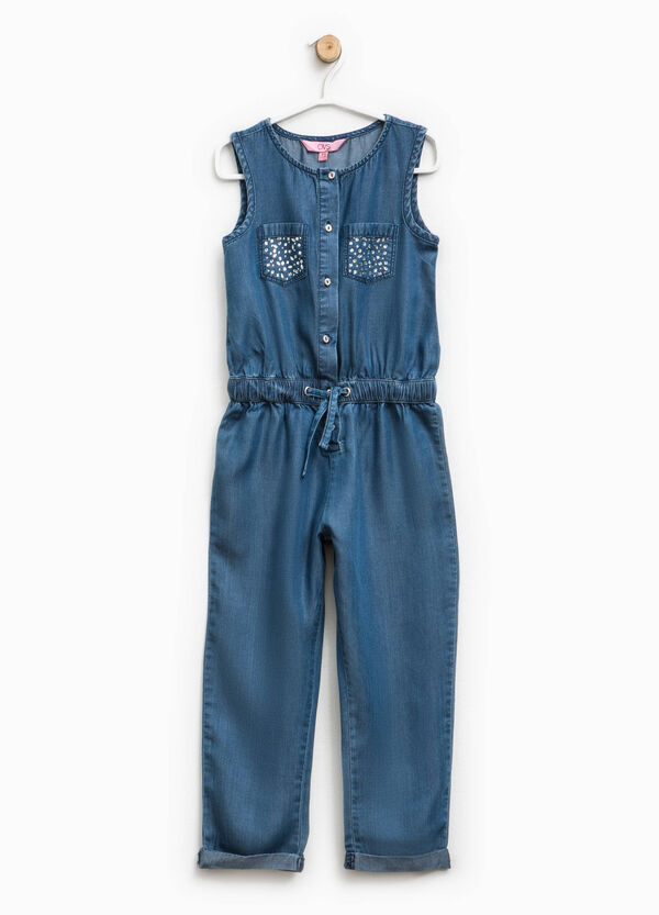 Denim playsuit with diamantés | OVS