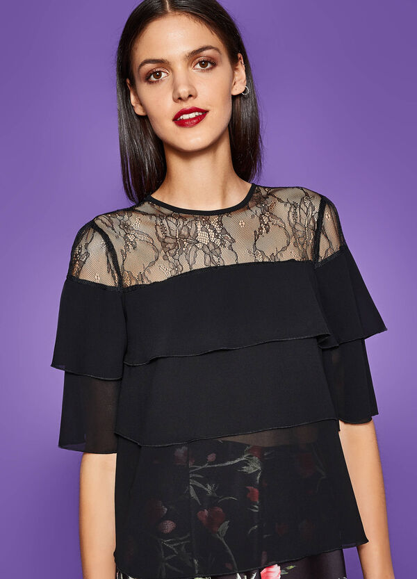 Blouse with flounces and lace | OVS