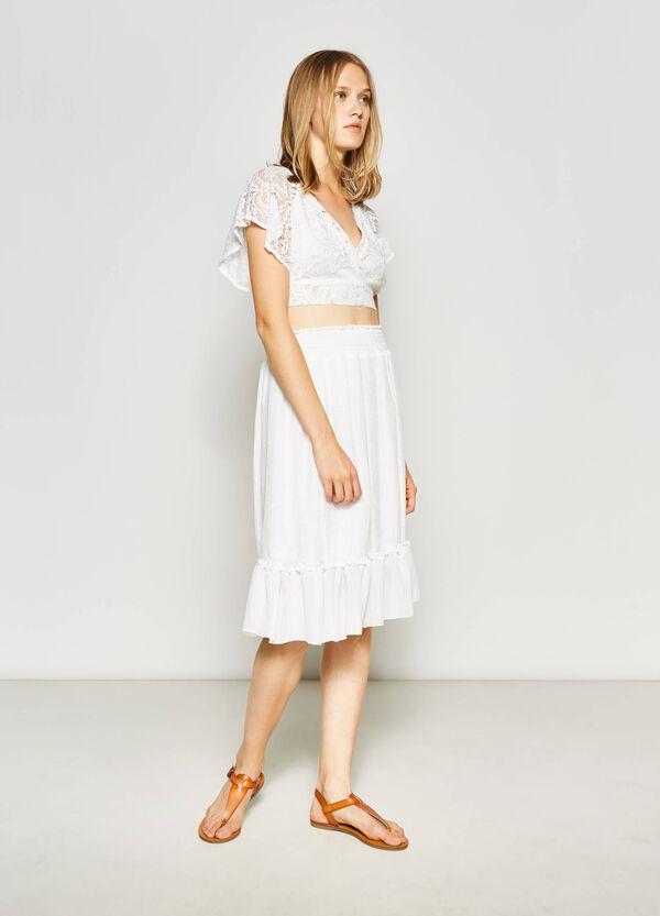 Falda de algodón de talle alto | OVS