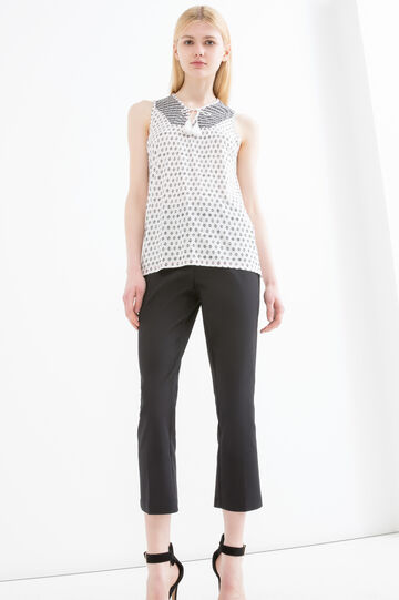 Round neck top with ties and tassels
