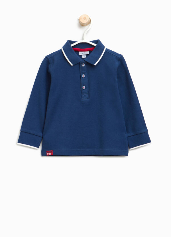 Polo shirt in cotton with striped ribbing | OVS