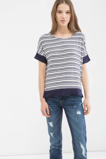 Stretch striped viscose T-shirt