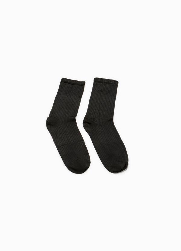 Calcetines cortos de viscosa con canalé | OVS