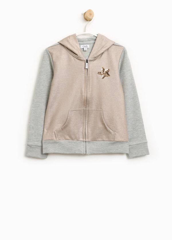 Two-tone sweatshirt with star sequins | OVS