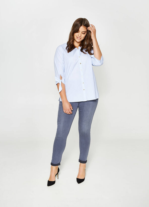 Curvy striped weave cotton shirt | OVS