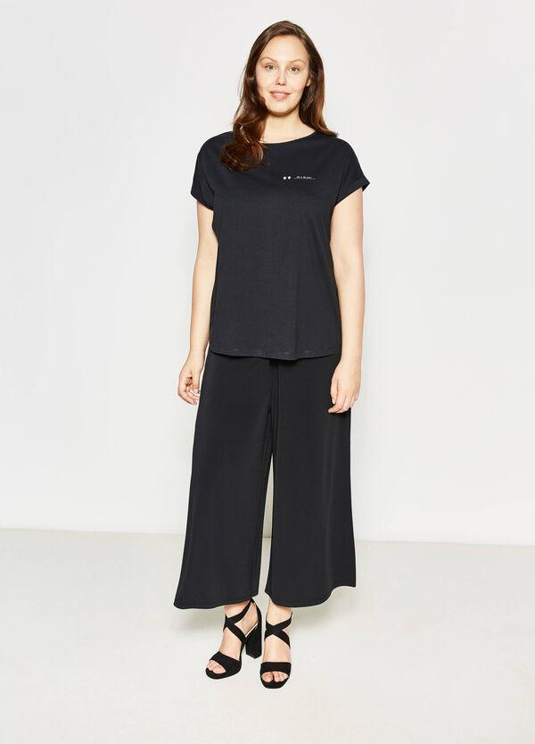Curvy cotton T-shirt with print | OVS