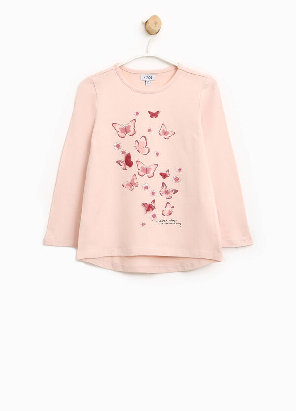 T-shirt in cotone stretch stampa farfalle | OVS