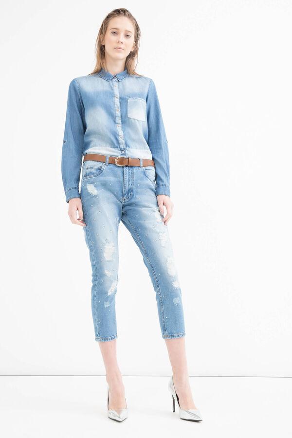 Boyfriend jeans with rips and diamanté motif | OVS