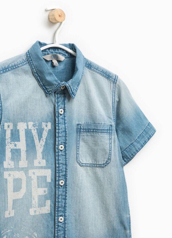 Camicia di jeans con stampa lettering | OVS