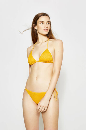 Knitted triangle bikini bra