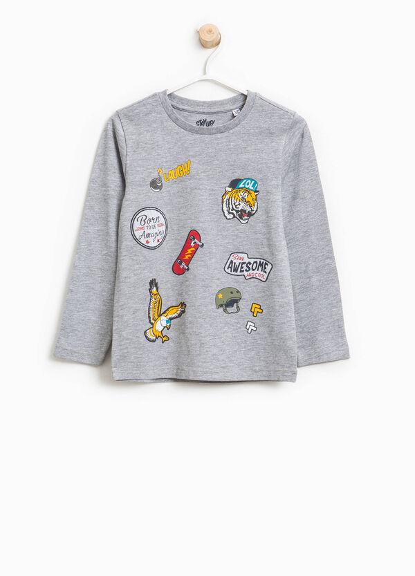 T-shirt in cotone e viscosa stampa e patch   OVS