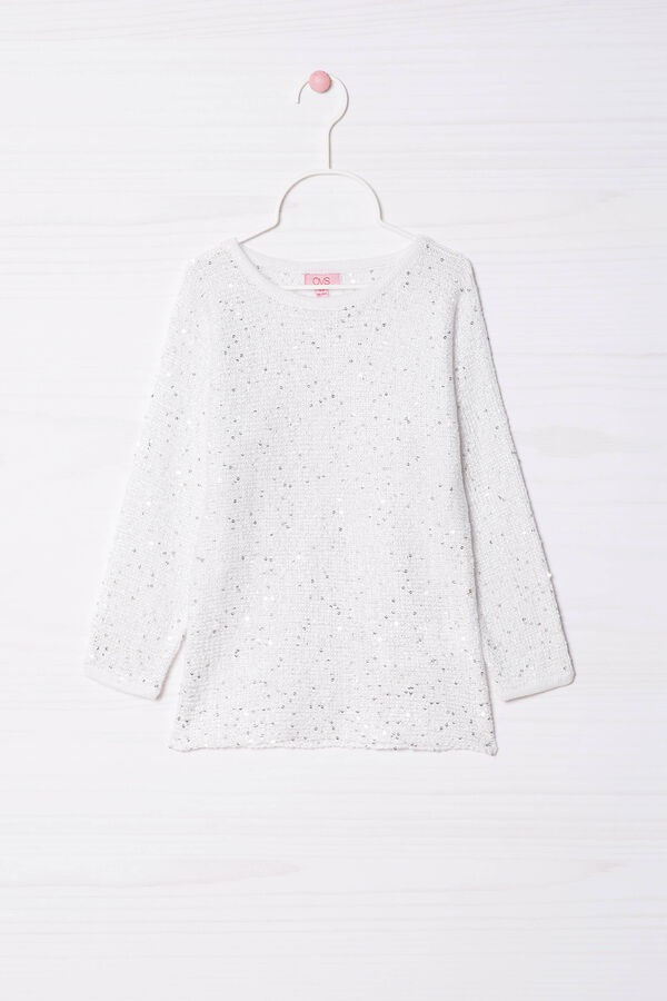 Cotton blend, sequinned pullover | OVS