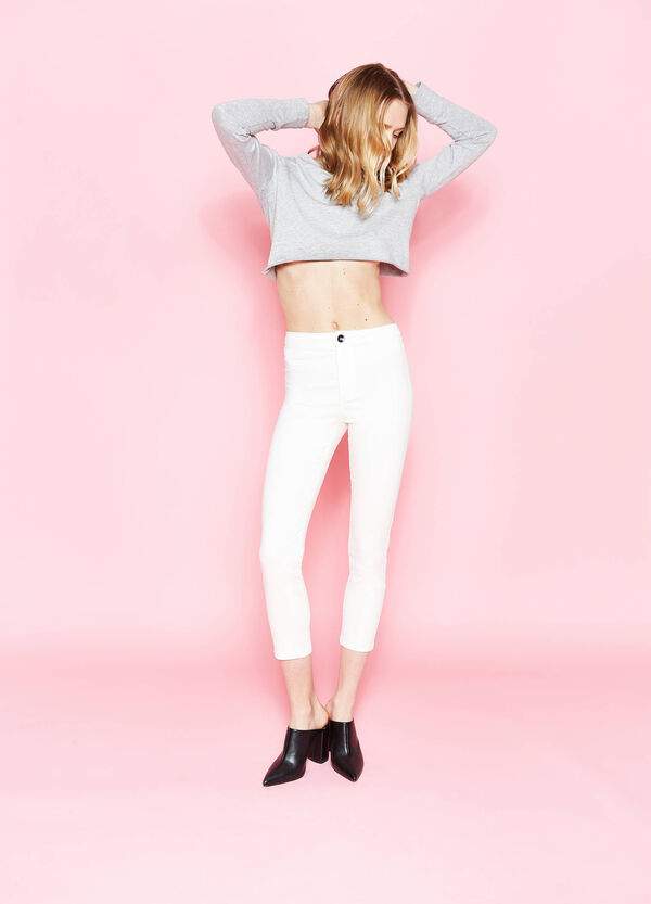 Pantaloni a vita alta in cotone stretch | OVS