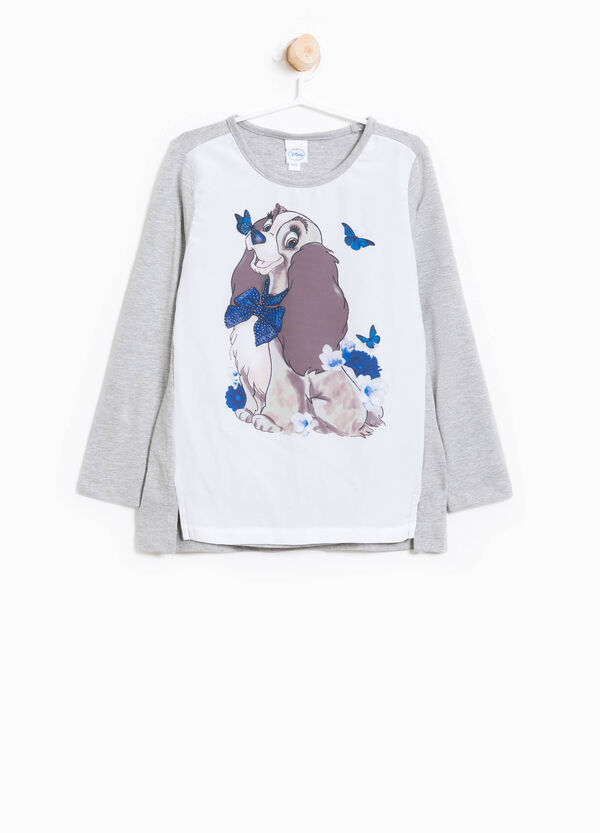 Lady & the Tramp cotton T-shirt with sequins and print | OVS