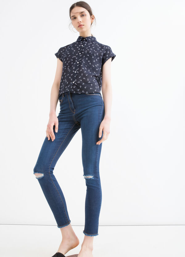 Stretch jeans with rips | OVS