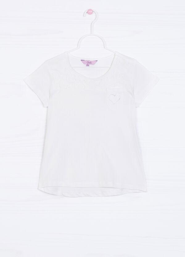 Diamanté T-shirt in 100% cotton with pocket | OVS