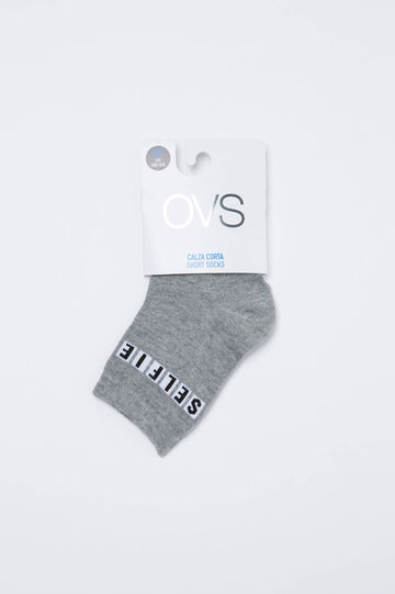 Cotton blend socks with printed lettering