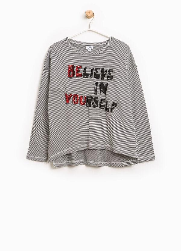 T-shirt in cotone a righe con paillettes | OVS