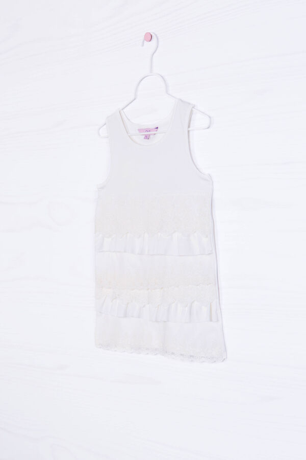 Stretch cotton top with flounces   OVS