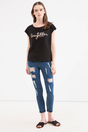 T-shirt cotone con strass e stampa