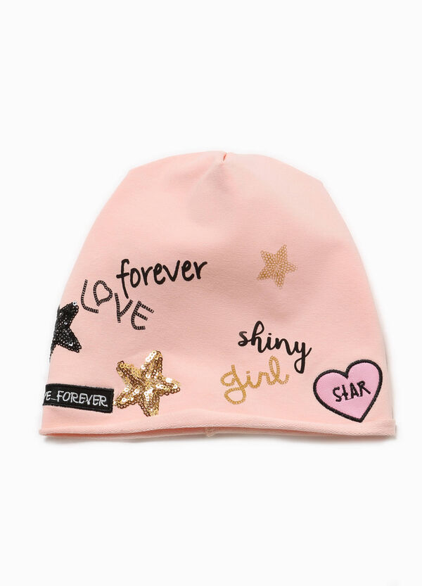 Beanie cap with print patches and sequins | OVS