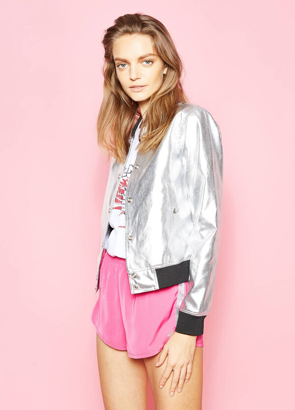 Shiny bomber jacket with snap buttons | OVS