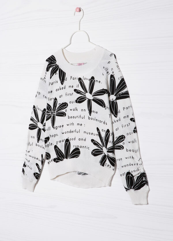 Printed 100% cotton knitted pullover | OVS