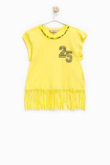 Crop T-shirt with beads and fringing