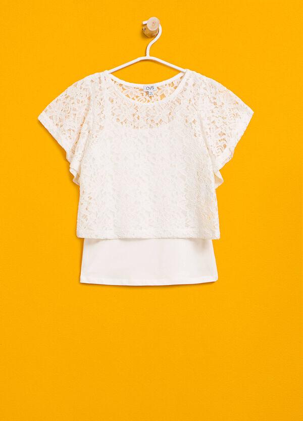 T-shirt in pizzo stretch con finto doppio | OVS