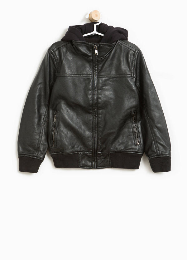 Textured bomber jacket with hood   OVS