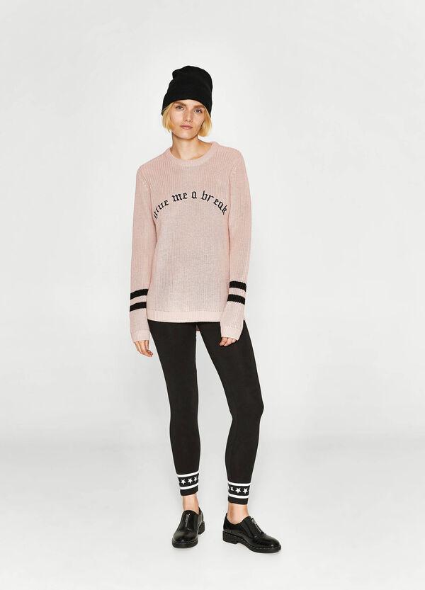 Pullover tricot con ricamo lettering | OVS