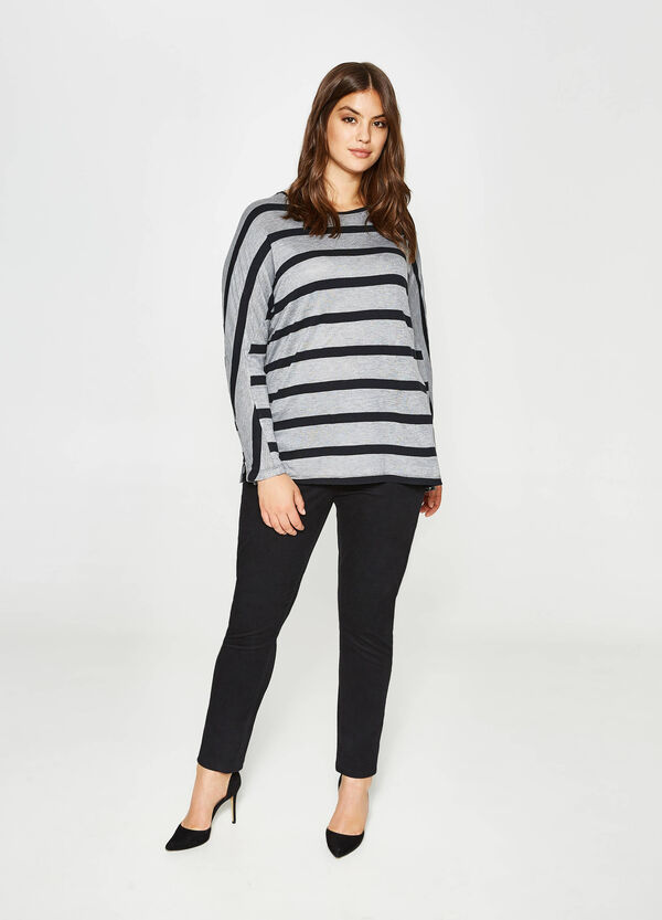 Curvy viscose and cotton T-shirt with stripes | OVS