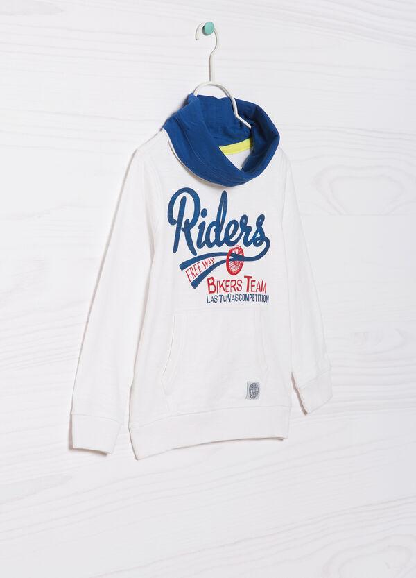 100% cotton sweatshirt with high neck. | OVS