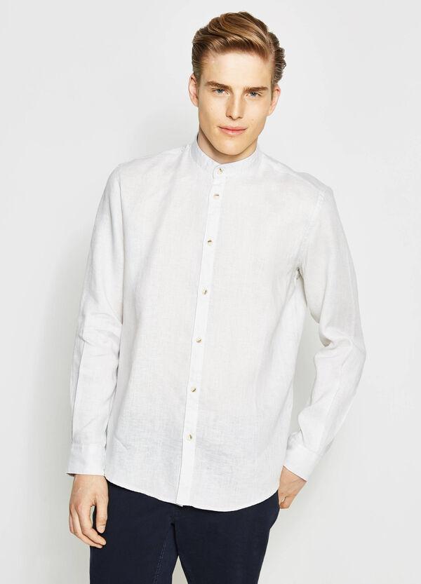 Camicia casual in lino inserti fantasia   OVS