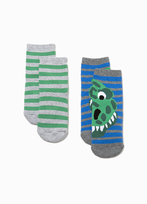 Set due paia di calze dinosauro e righe | OVS