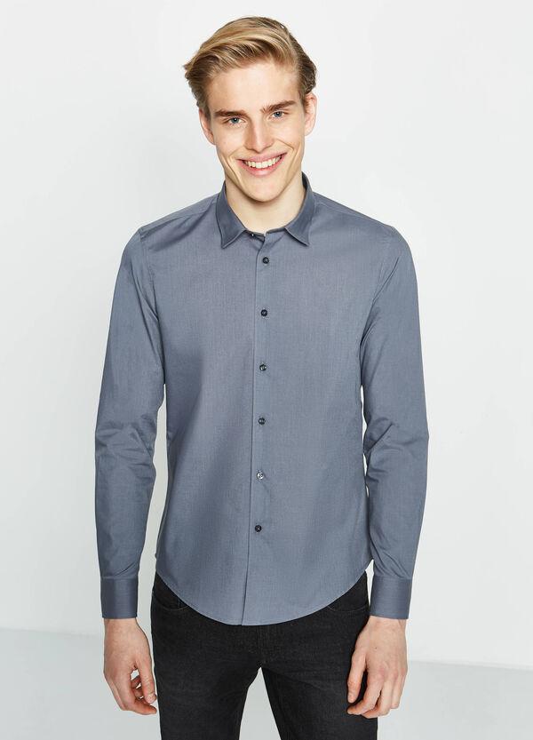 Camicia casual slim fit cotone tinta unita   OVS