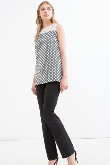 Long vest with polka dot pattern
