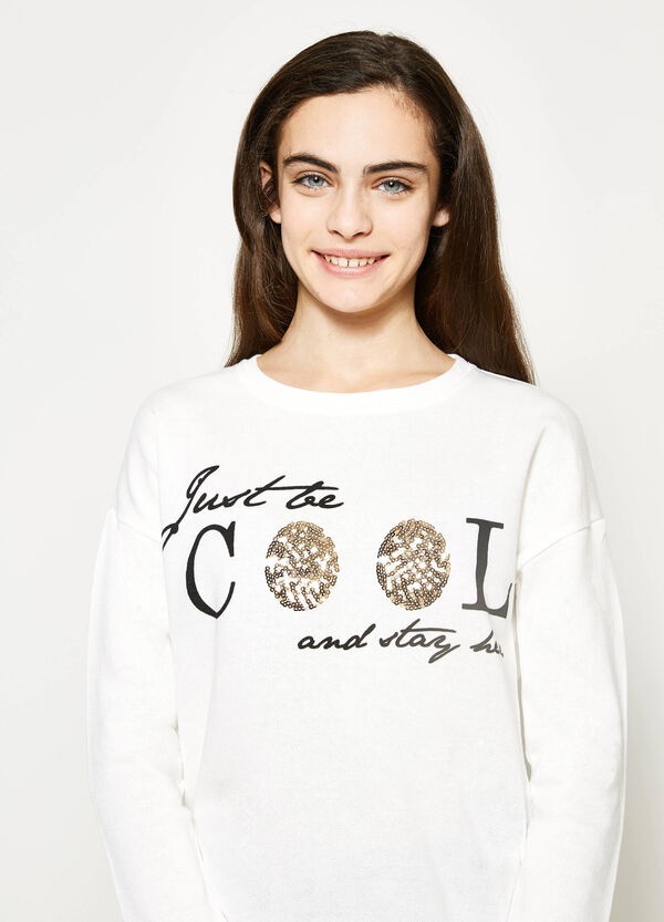 Teen cotton sweatshirt with print | OVS