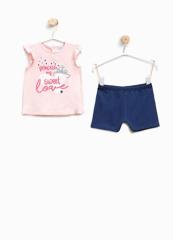 Completo top e shorts in cotone stretch | OVS