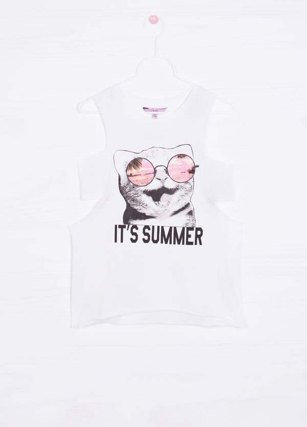 Printed top in 100% cotton   OVS