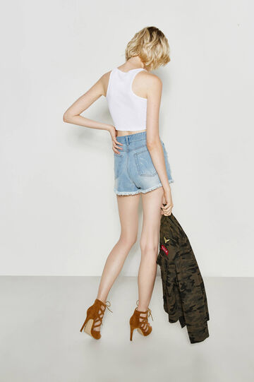 Denim shorts with rips