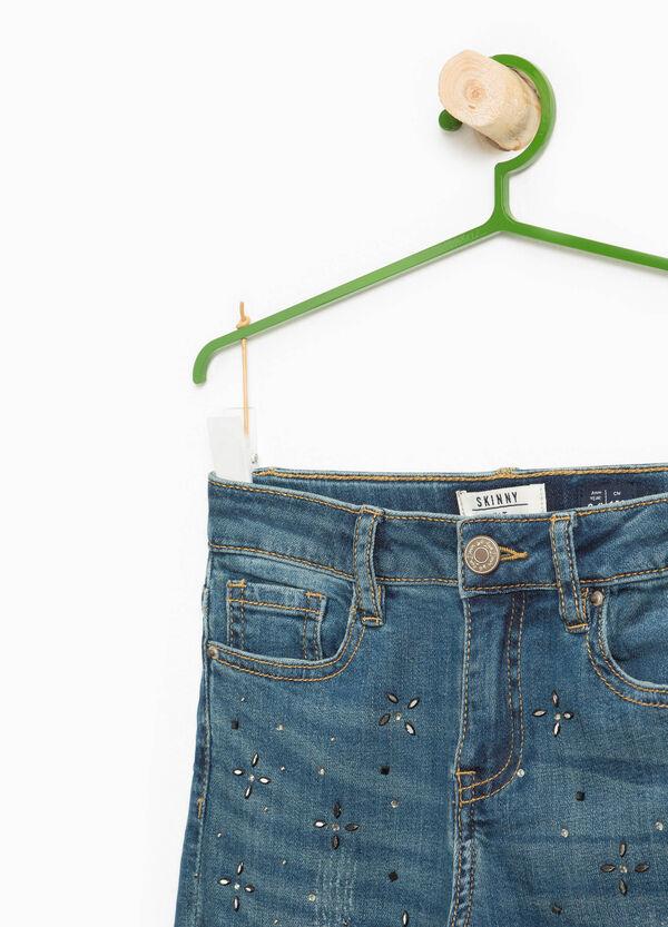 Worn-effect jeans with diamanté appliqué | OVS