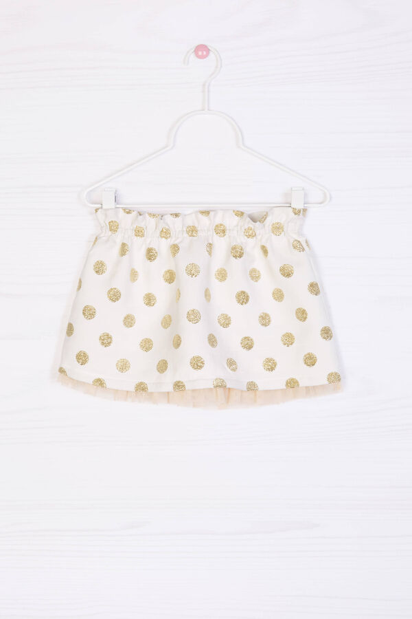 Glitter polka dot cotton blend skirt | OVS