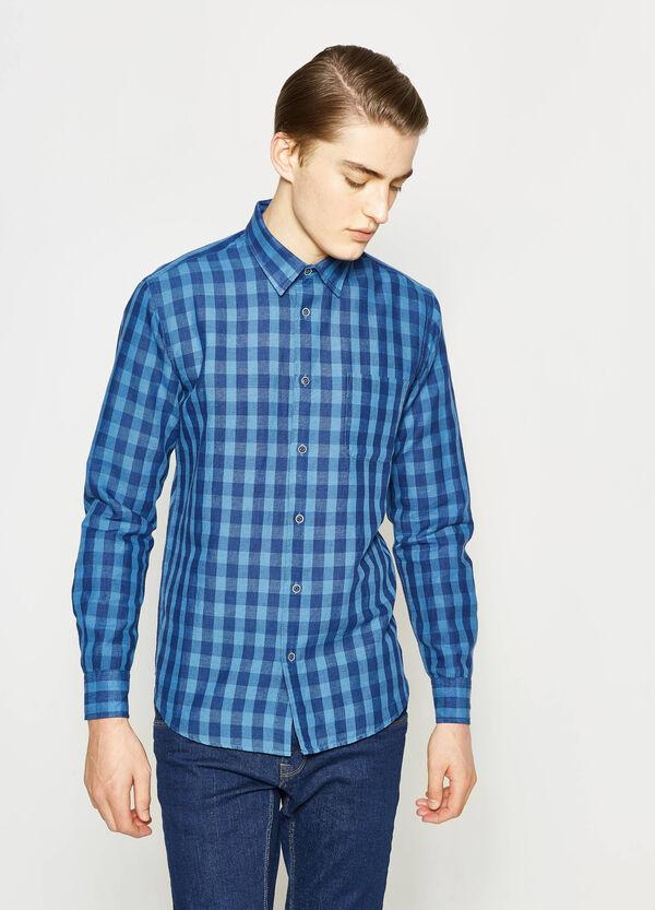 Camicia casual in lino a quadri | OVS