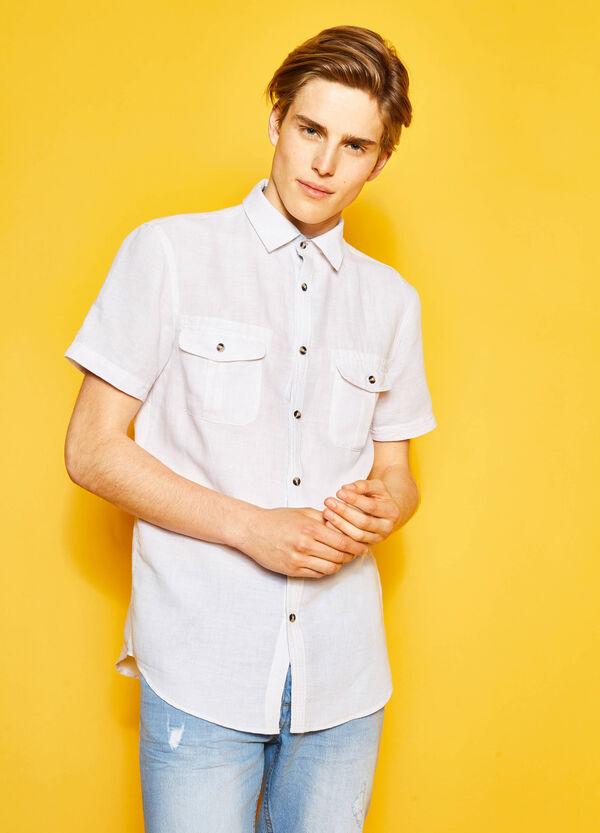 Camicia casual regular fit lino cotone   OVS