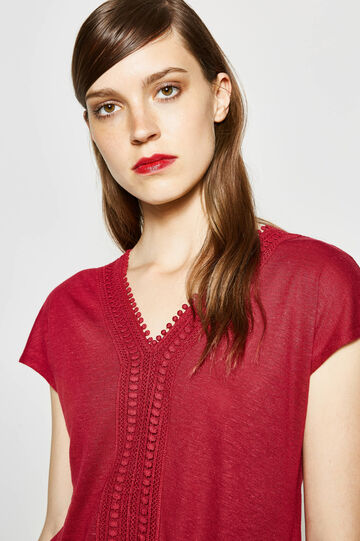 Viscose and linen embroidered T-shirt