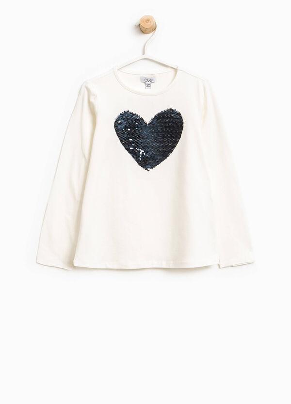 T-shirt con paillettes a forma di cuore | OVS