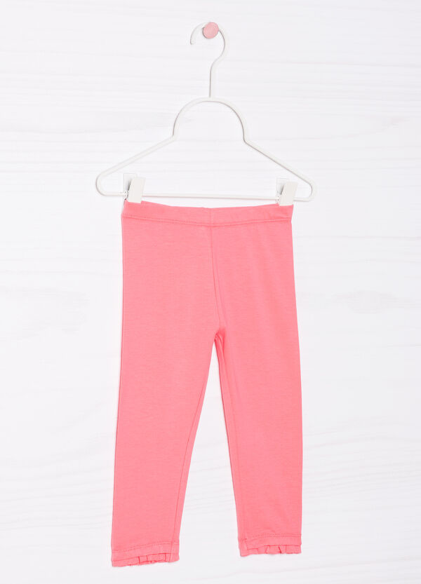 Solid colour 100% cotton stretch trousers   OVS