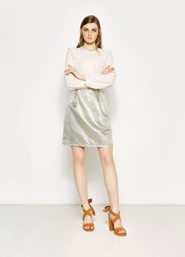 High-waisted jacquard skirt with lurex | OVS