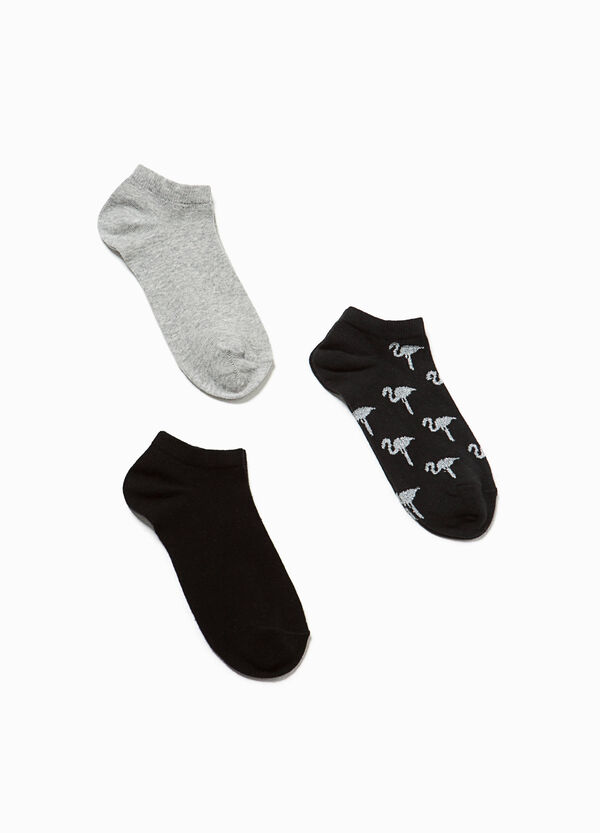 Three-pair pack stretch short socks solid colour and flamingos | OVS